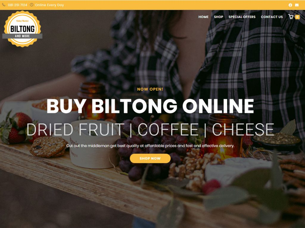 website design example biltong and more